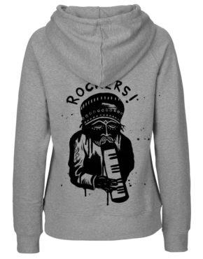 Grey Hoodie women achter rockers1