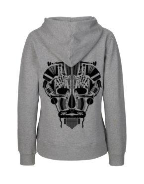 Grey hoodie vrouw achter Music