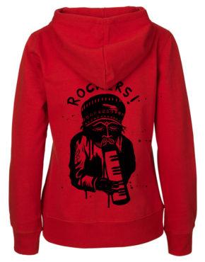 Red Hoodie women back rockers1