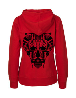 Red hoodie vrouw achter Music