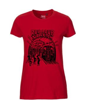 Red tshirt woman rubadub